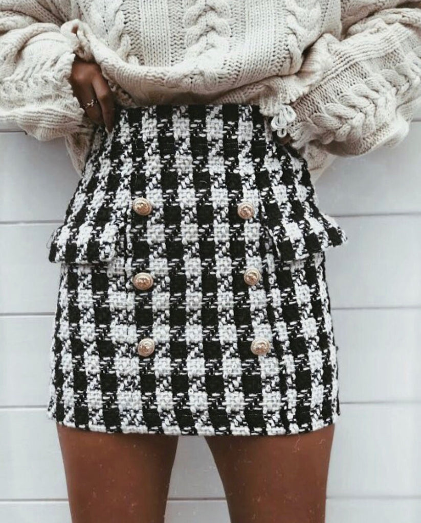 'Scarlett' Monochrome Dogtooth Skirt with Gold-Button Detail