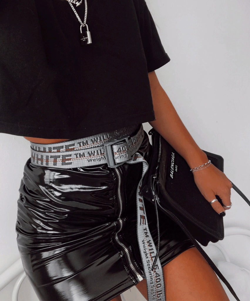 Black Vinyl Zip Detail Mini Skirt
