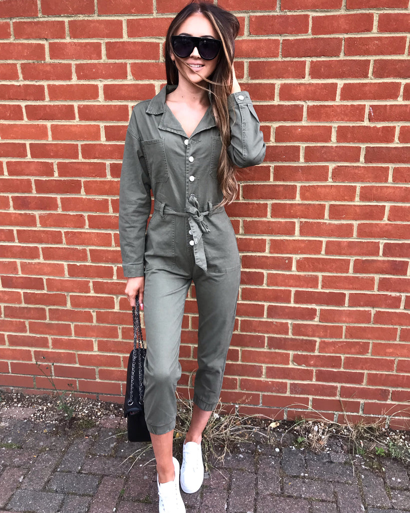 'Billie' Khaki Denim Belted Jumpsuit