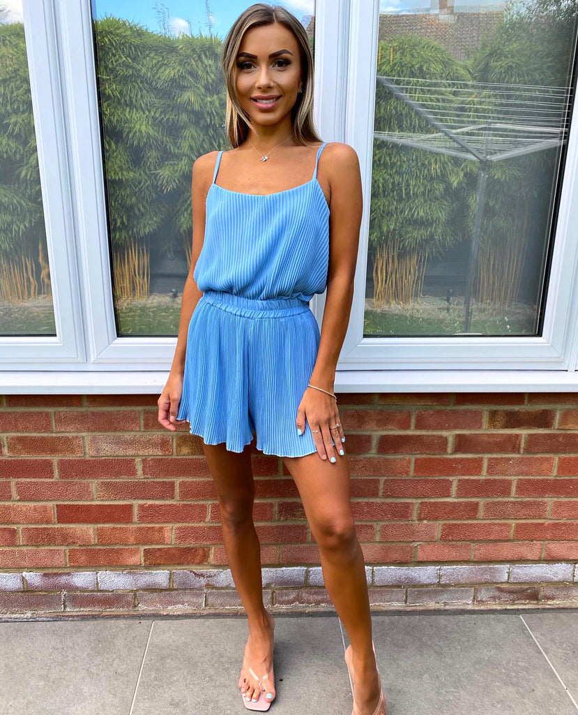 'Lulu' Blue Pleated Top & Shorts Set