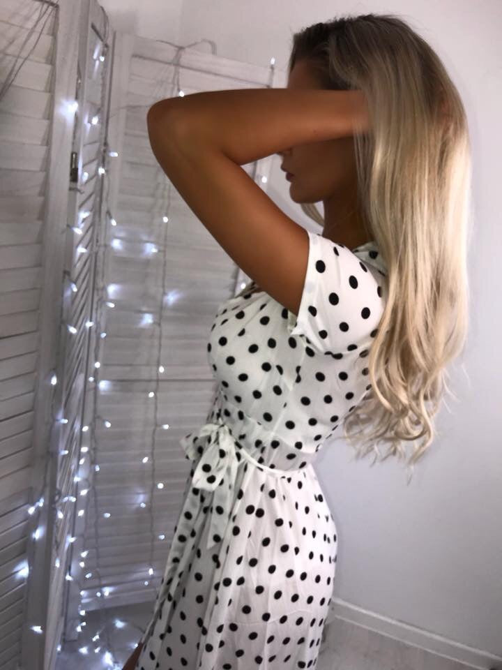 'Nicoletti' White Polka-Dot Wrap-Over Maxi Dress with Tie-Belt