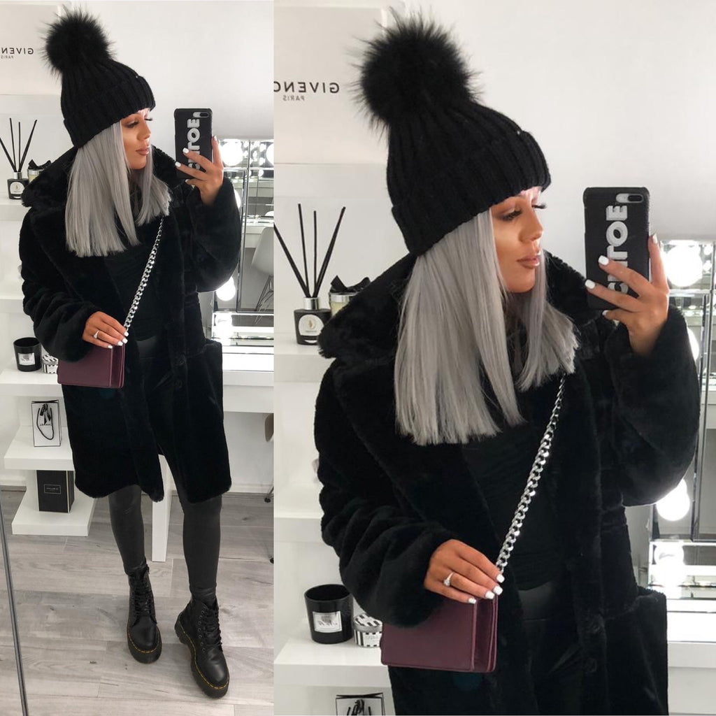 Black Knitted Faux-Fir Pom-Pom Hat