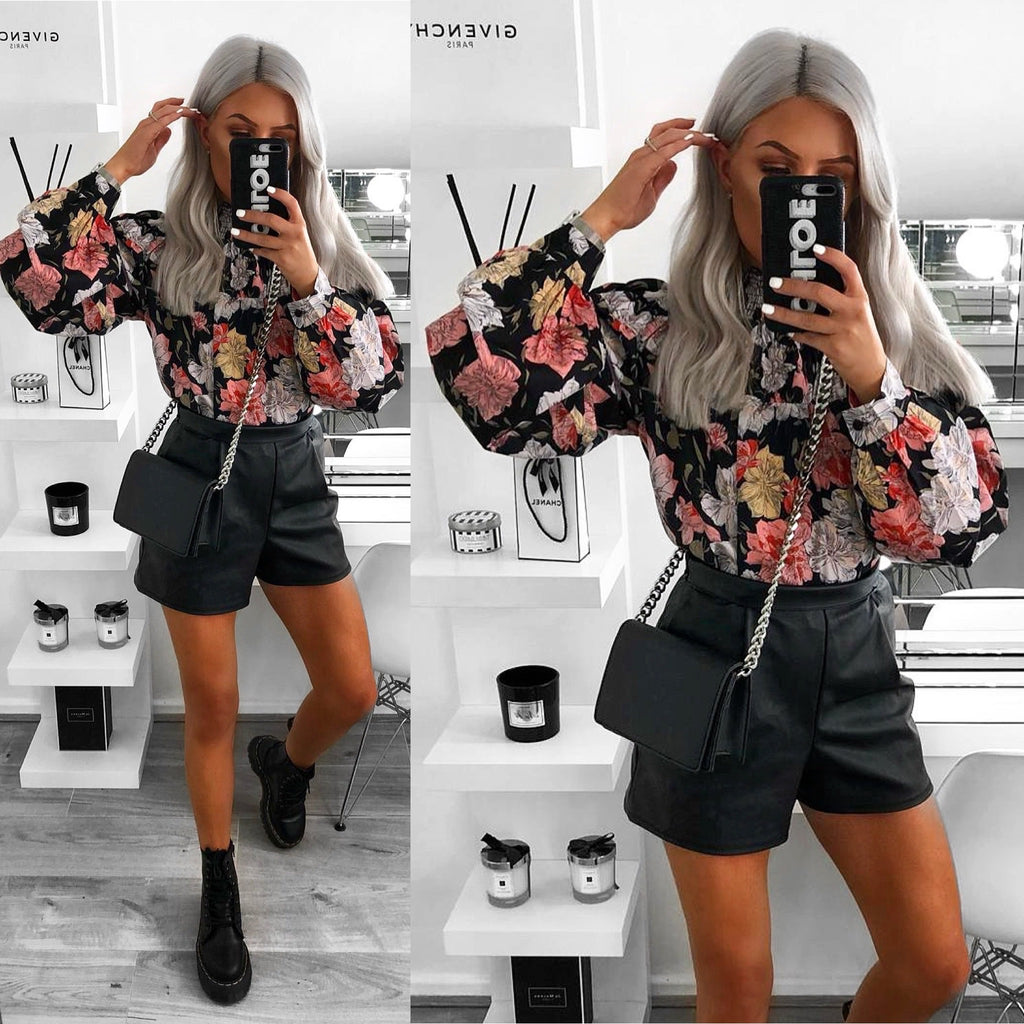 'Annalise' Floral High-Neck Blouse