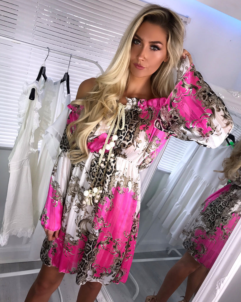 'Chelsea' Off-Shoulder Pink Print Dress with Drawstring Detail