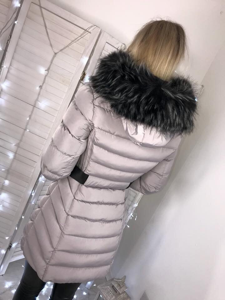 'Roxy' Grey Long Puffer Coat with Faux-Fur Hood
