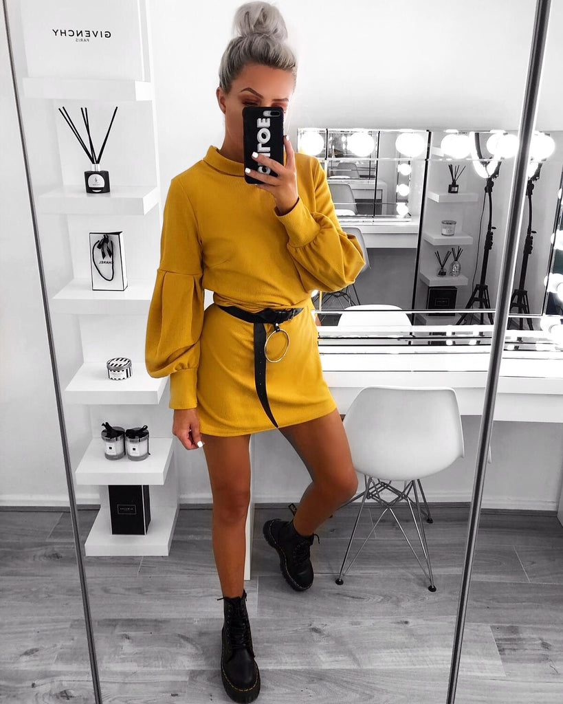 'Adele' Mustard High-Neck Dress with Bell-Sleeve