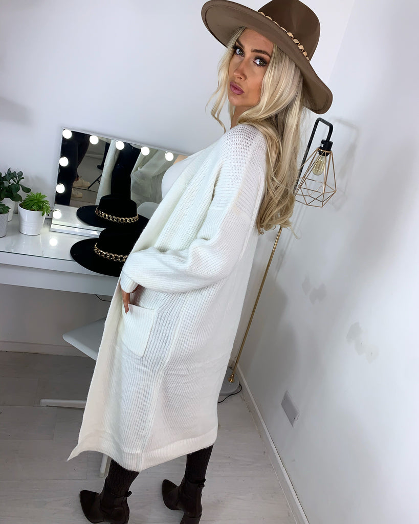 'Ashleigh' Cream Knitted Longline Cardigan
