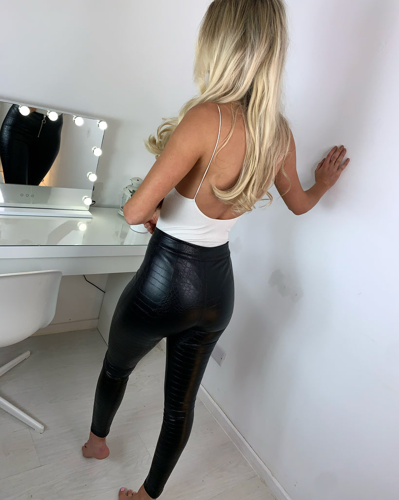 'Allie' Black Zip-Detail Snake Print High-Waisted Leggings