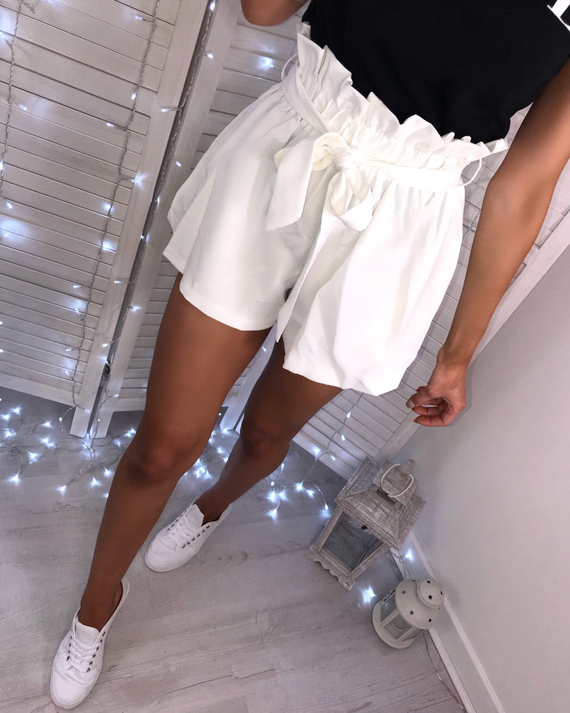 'Abbie' Cream Tailored Paperbag Belted Shorts