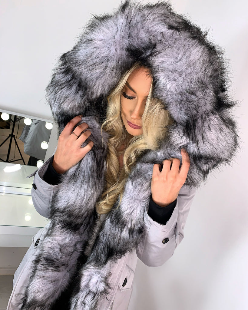 'Rosa' Grey LUXE Faux-Fur Hooded Parka