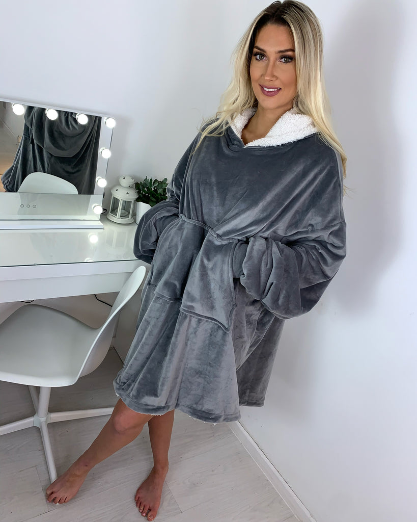 'Tula' Grey Fleece-Lined Oversized Snuggle Hoodie