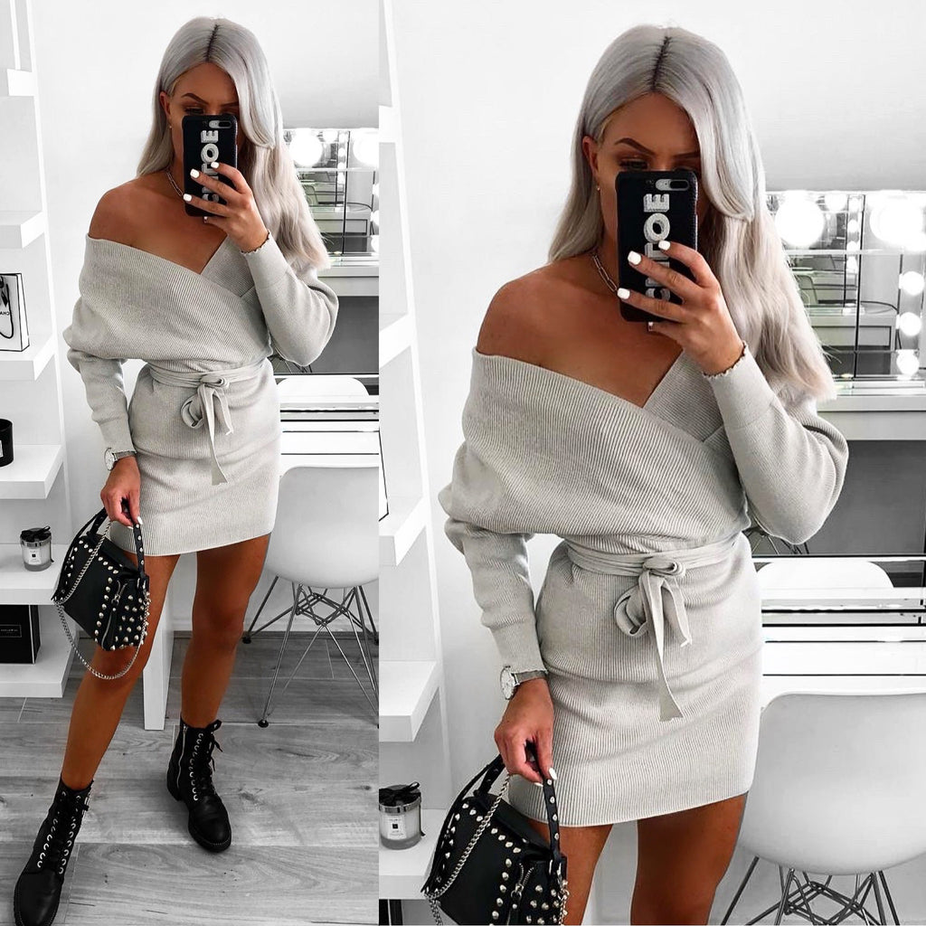 'Ella Grey Knitted Long Sleeve Belted Wrap Dress