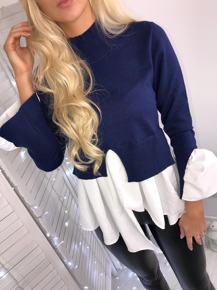 'Isla' Navy Knitted High-Neck Shirt Jumper