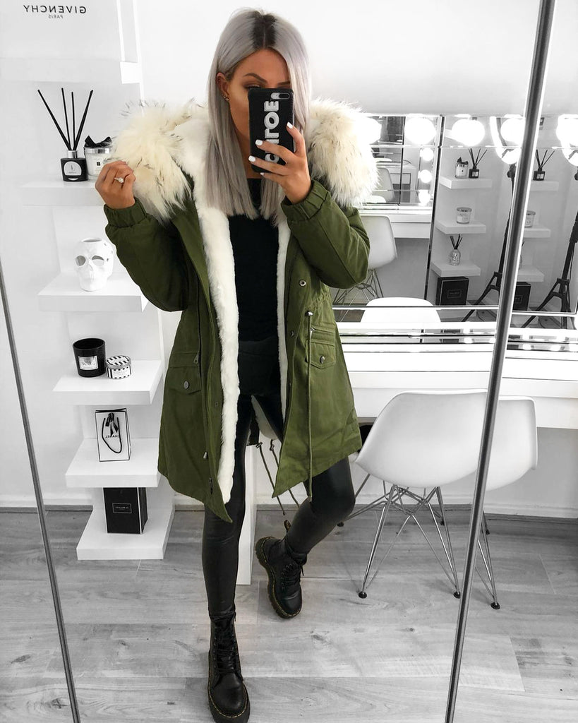'Bonnie' Khaki Green Parka with Faux-Fur Hood & Lining