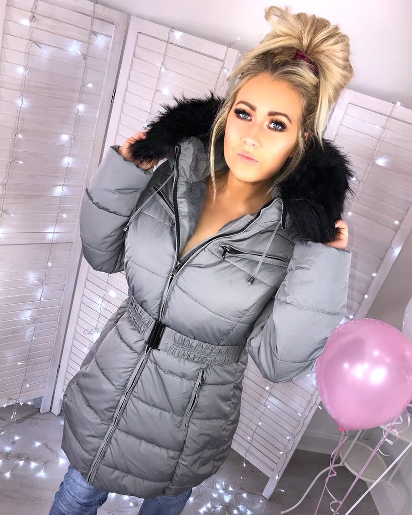 'Shayla' Grey Long Puffer Coat with Black Faux-Fur Hood & Belt