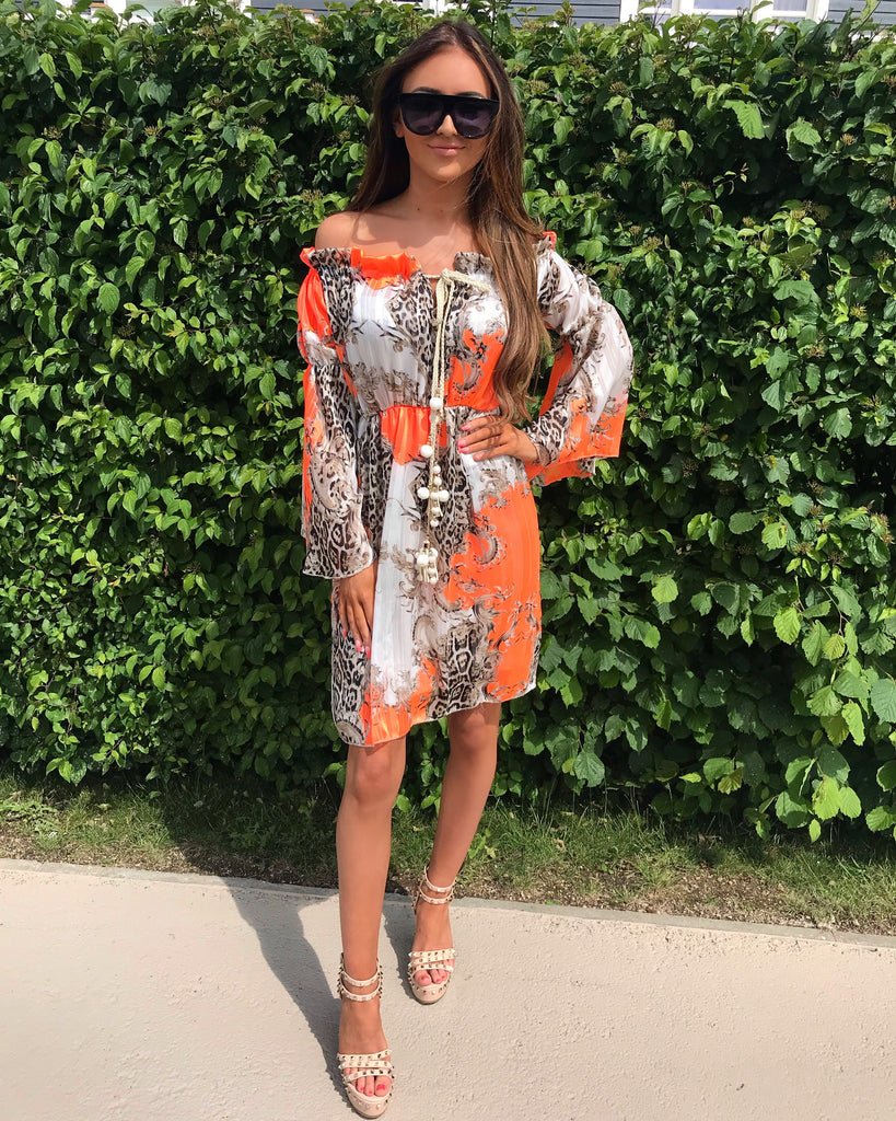 'Chelsea' Off- Shoulder Orange Print Dress with Drawstring Detail