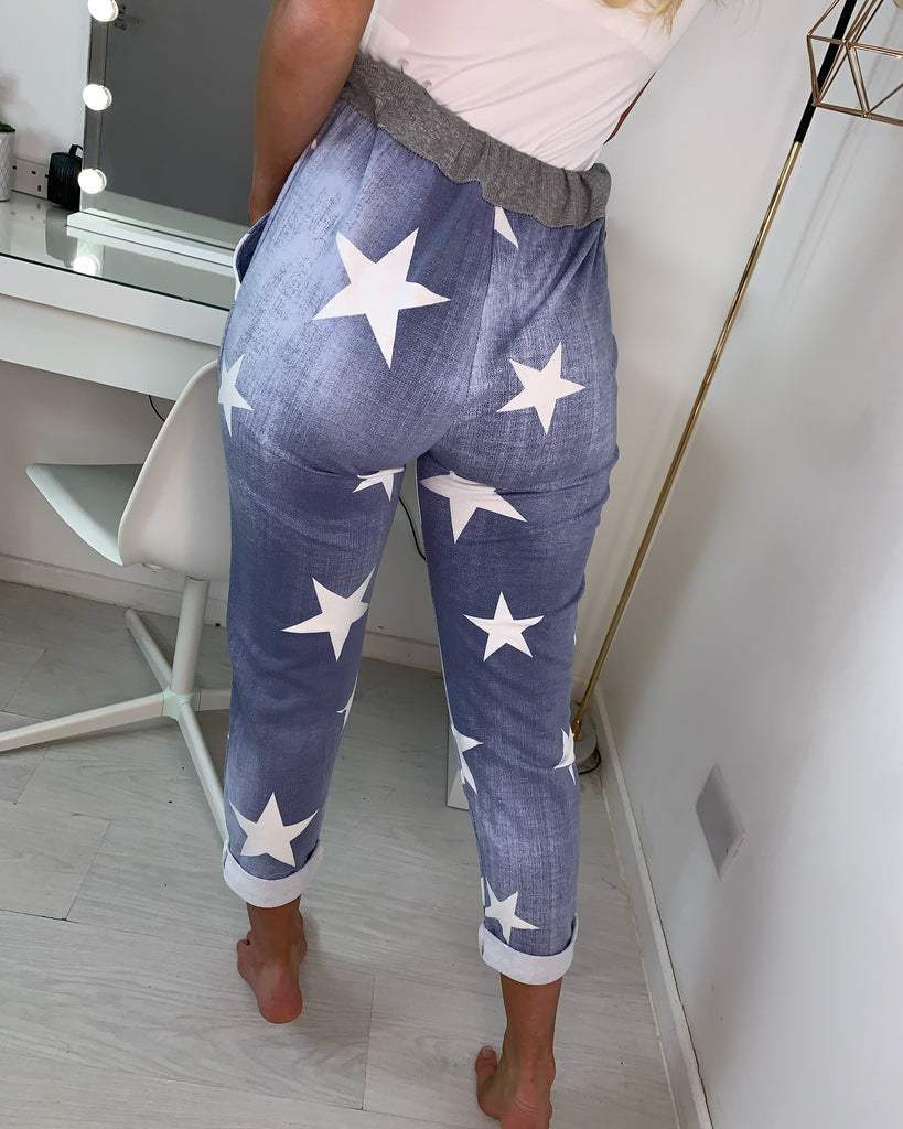 'Ruby' Denim-Feel Star Print Magic Trousers