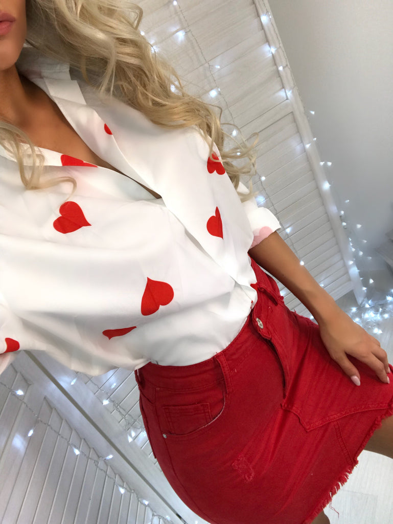 'Hope' White Love Heart Detail Shirt
