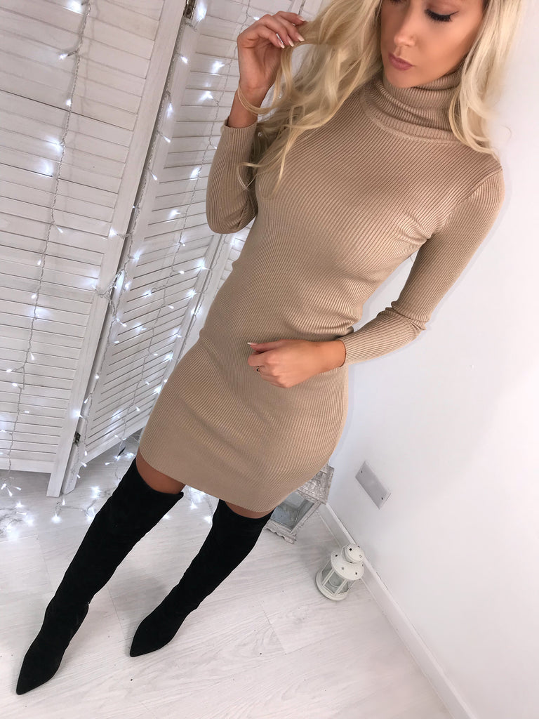 'Missy' Beige Knitted Ribbed Roll-Neck Jumper Dress