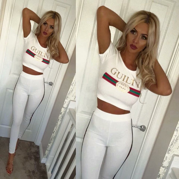 'Guilty' White Slogan Co-Ord Set