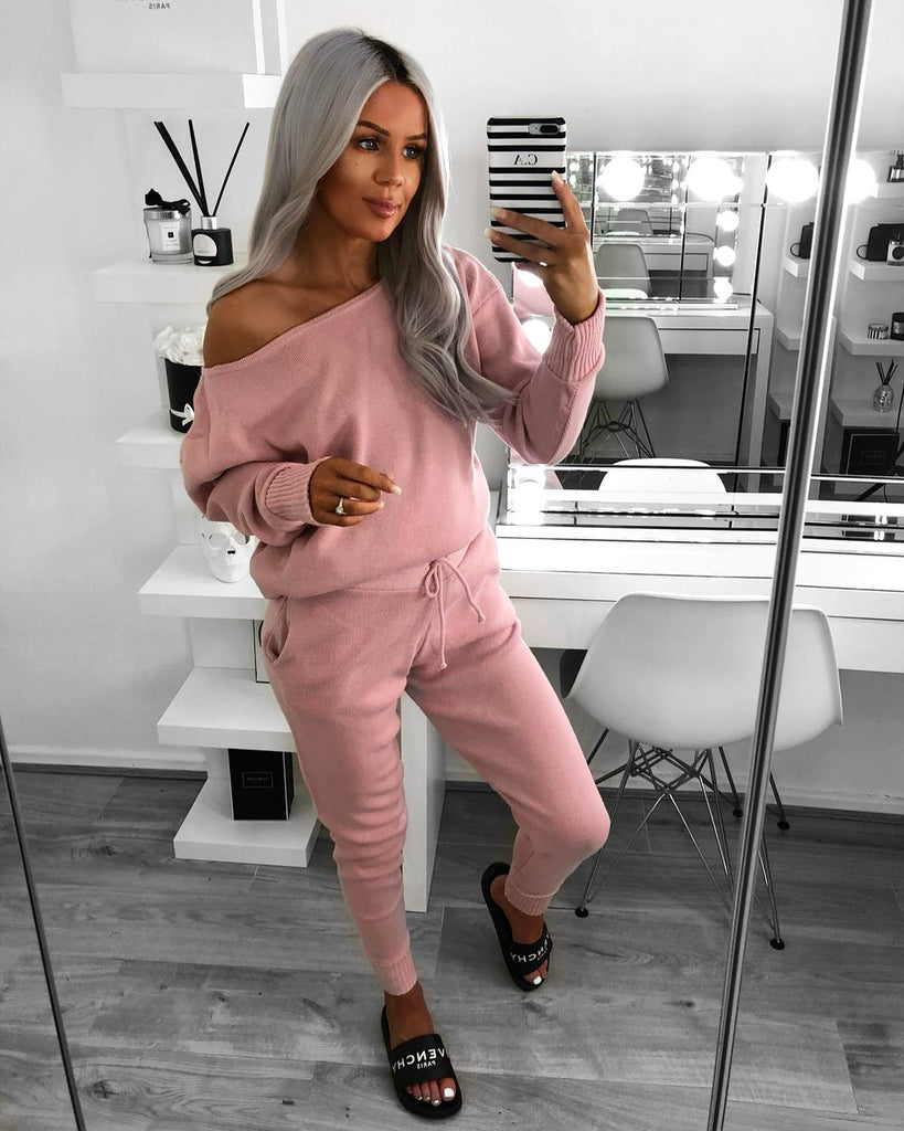 'Millie' Pink Off-Shoulder Knitted Loungesuit