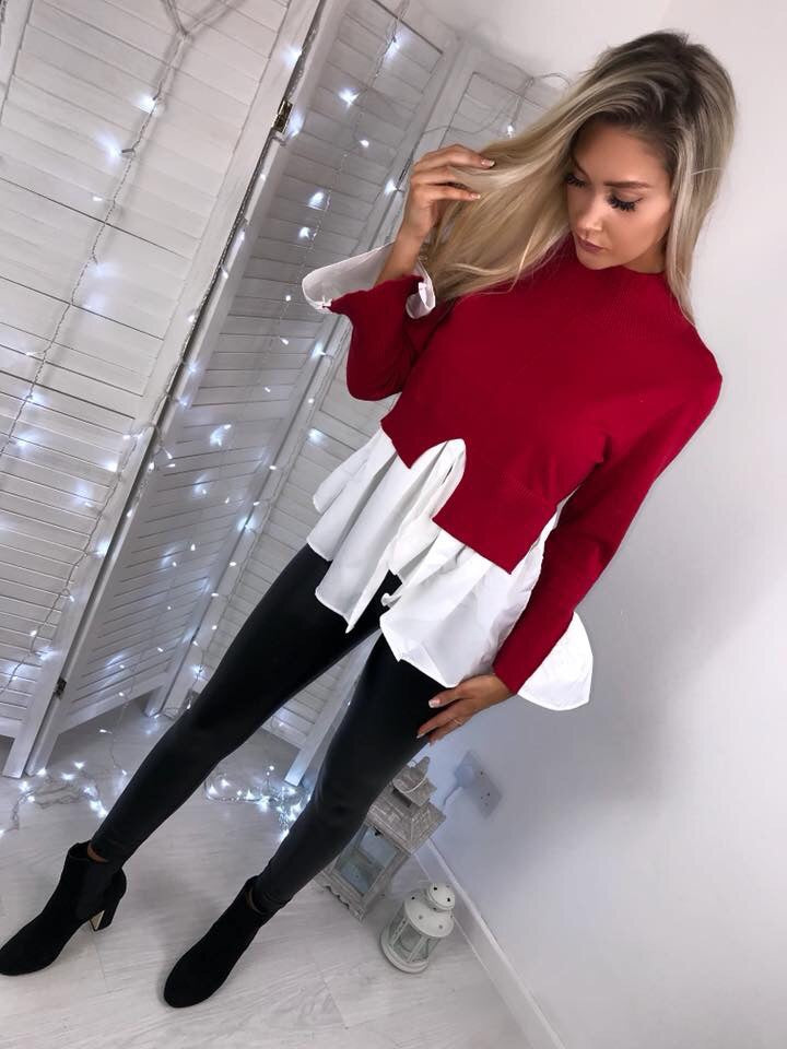 'Isla' Red Knitted High-Neck Shirt Jumper