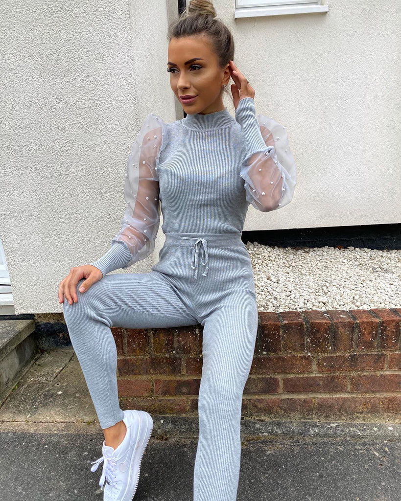 'Giana' Grey Ribbed Puffed Sleeve Loungesuit
