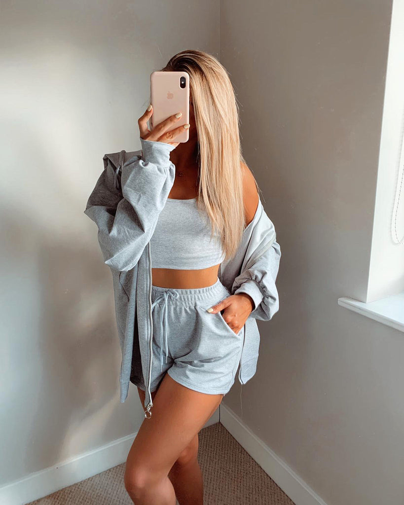 'Freya' Grey Hooded 3-Piece Set