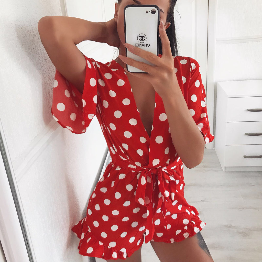 'Rosie' Red Polka-Dot Belted Playsuit Playsuit