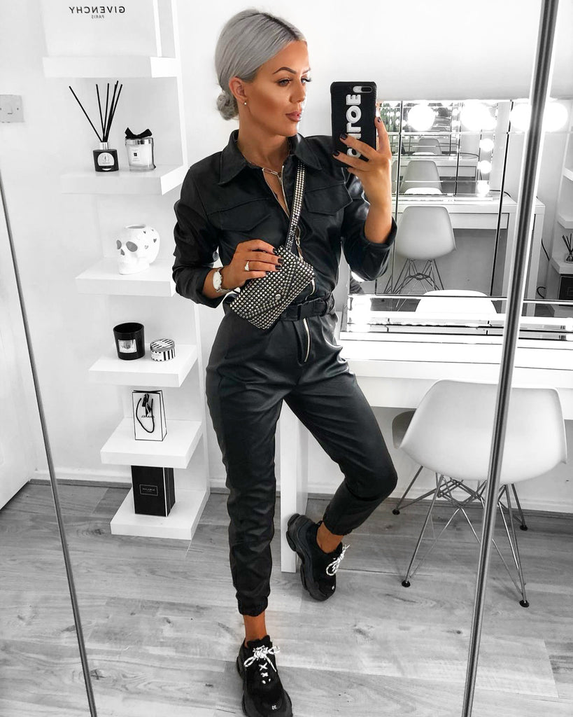 'Allie' Black PU Jumpsuit