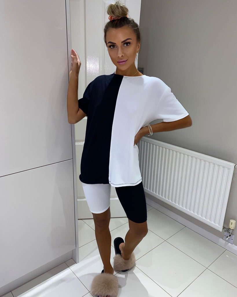 'Erin' Black & White Contrast T-Shirt & Cycling Shorts Co-Ord Set