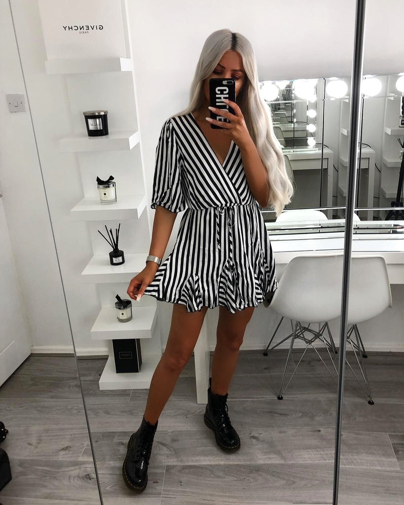'Laine' Black & White Stripe Wrap-Over Dress with Frill Hem