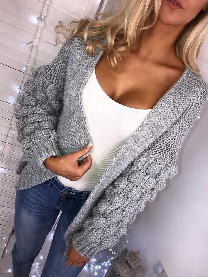 'Kallie' Grey Chunky Knit Bubble-Sleeve Cardigan