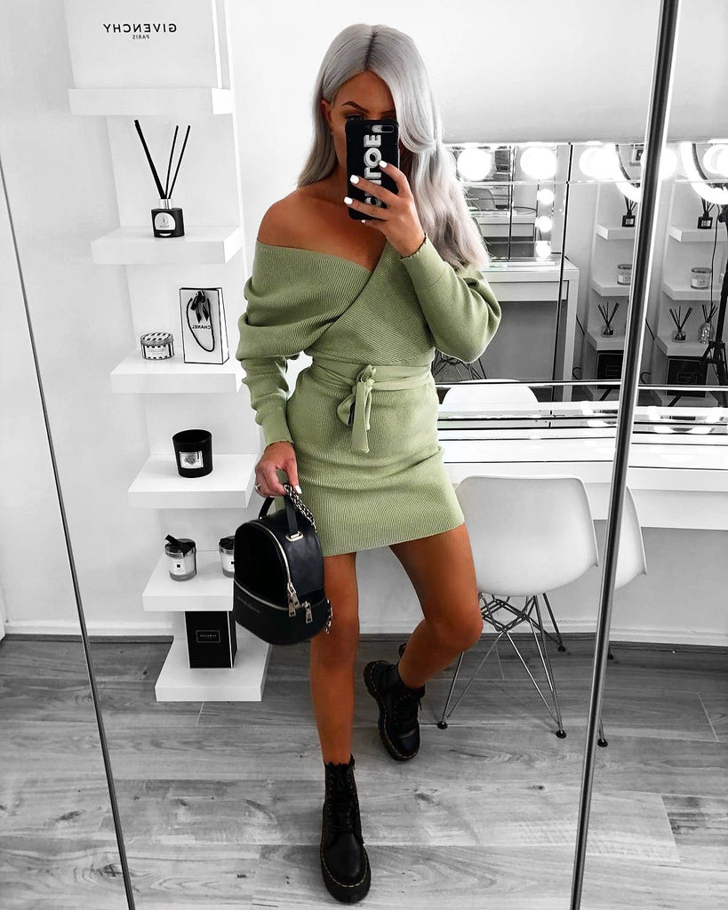 'Ella' Green Knitted Long Sleeve Belted Wrap Dress