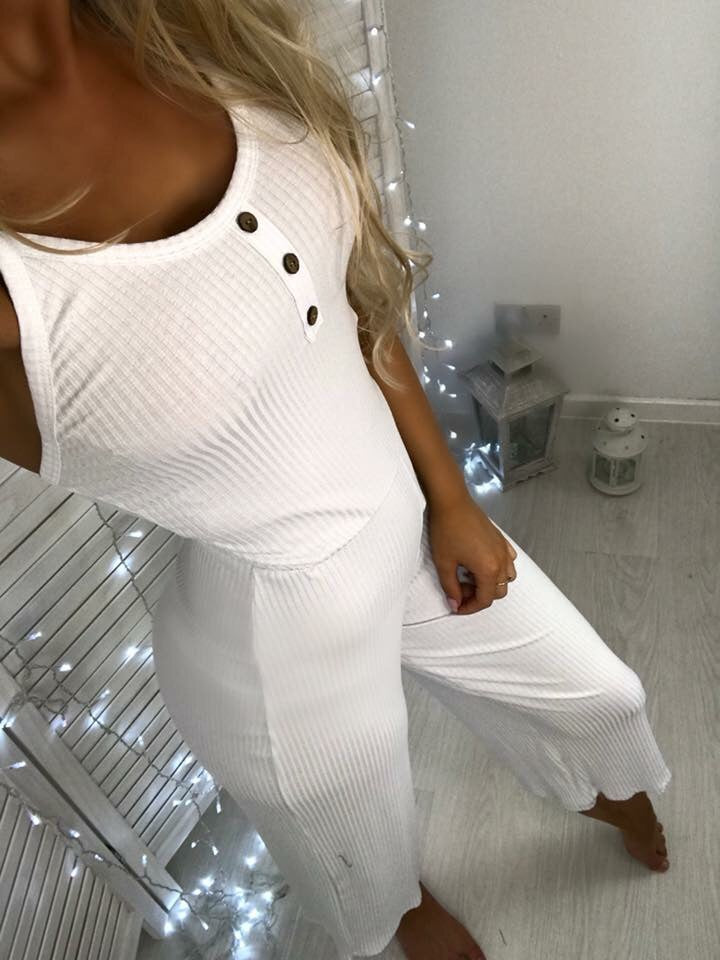 'Faith' White Culotte Jumpsuit (PRE ORDER - 14 DAY DELIVERY)