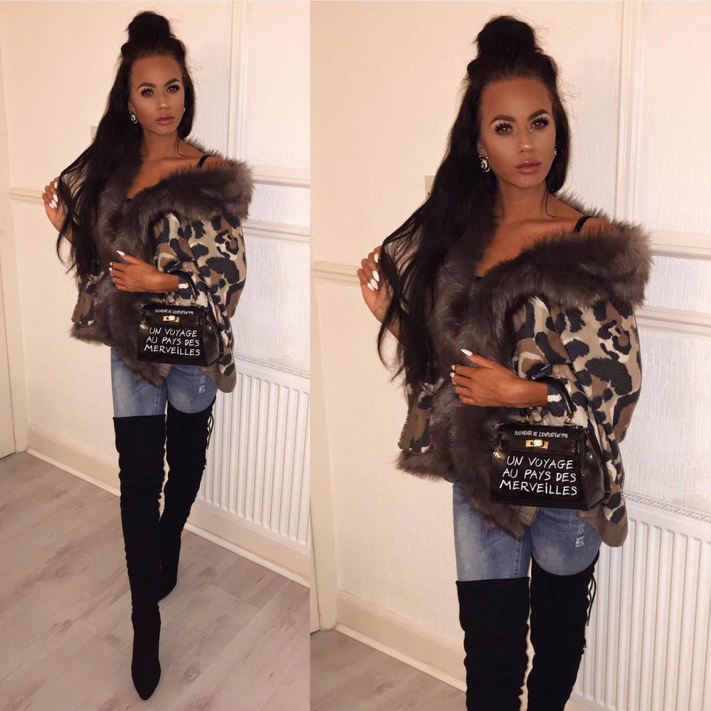 'Isabella' Animal-Print Shawl with Faux-Fur Collar (PRE ORDER 14 DAY DELIVERY)