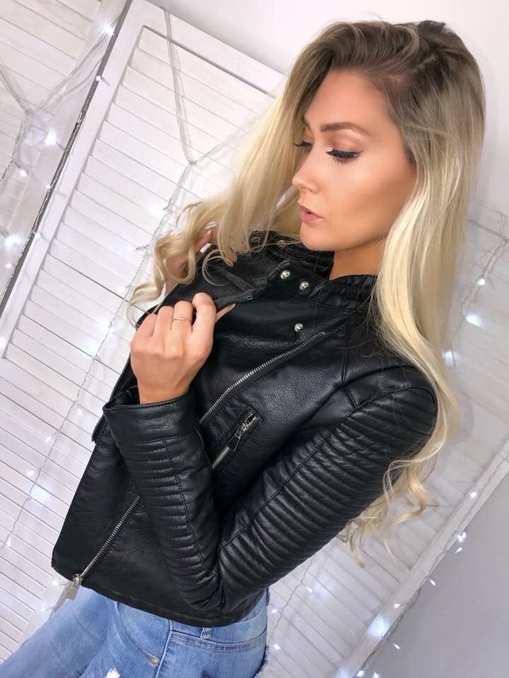 'Carmel' Black Zip Detail Biker Jacket