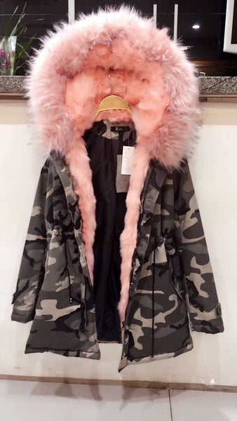 Camo Parka With Pink Faux-Fur Hood