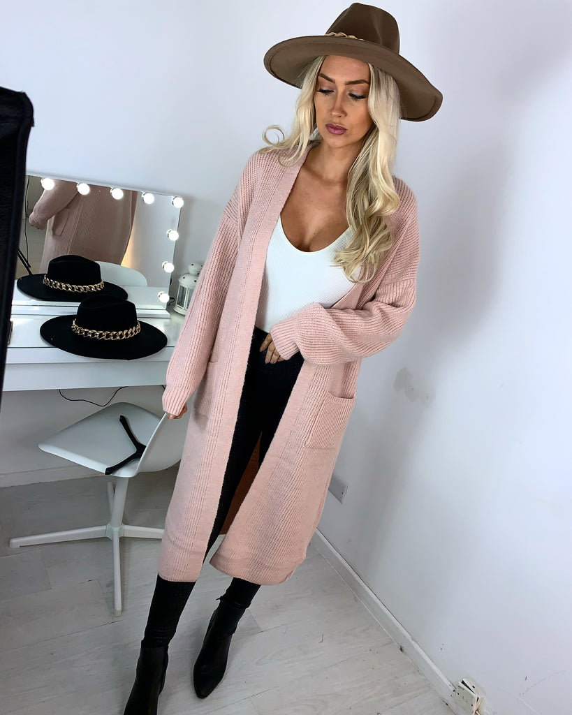 'Ashleigh' Pink Knitted Longline Cardigan