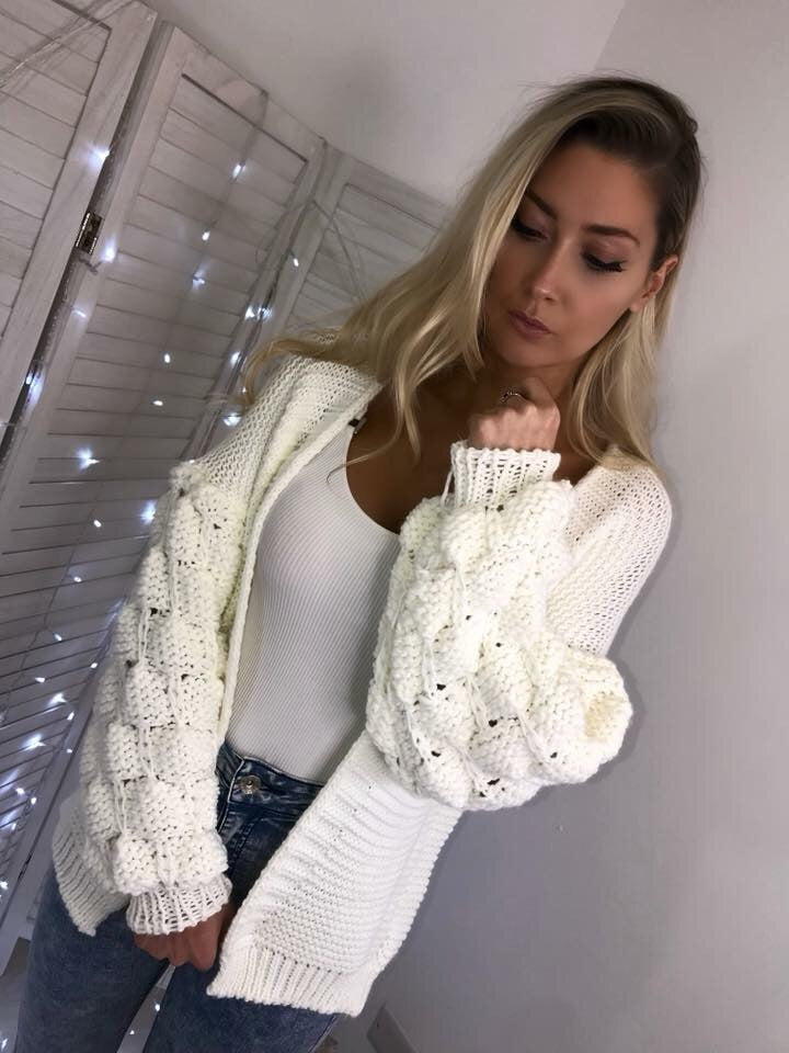 'Kallie' Cream Chunky Knit Bubble-Sleeve Cardigan