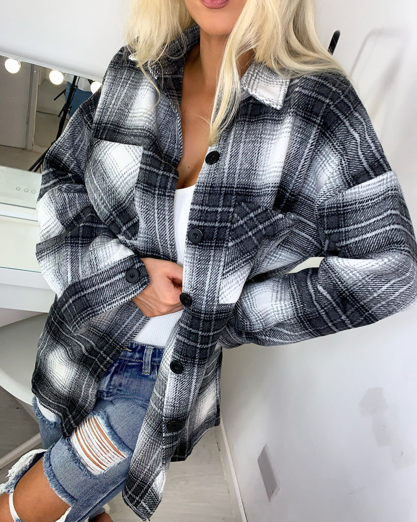 'Allie' Grey Check Shacket