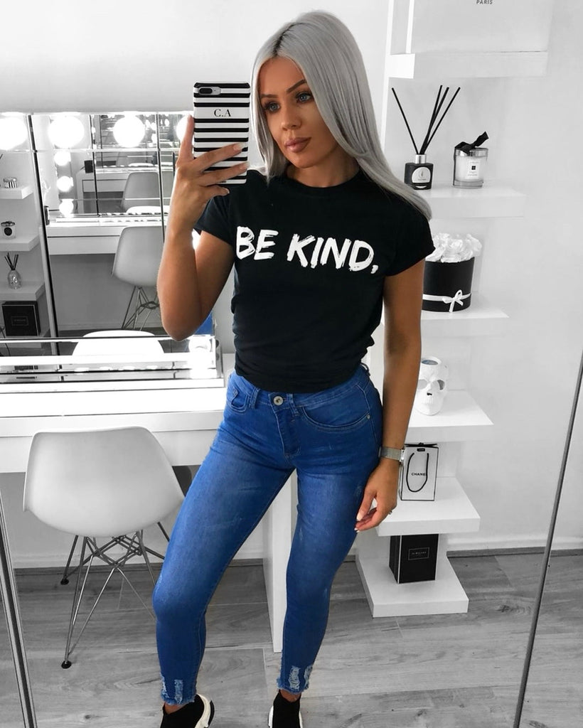 'BE KIND' Black Slogan Tee