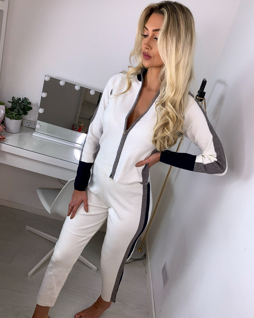 'Saffron' White & Navy Knitted Zip-Front Loungesuit