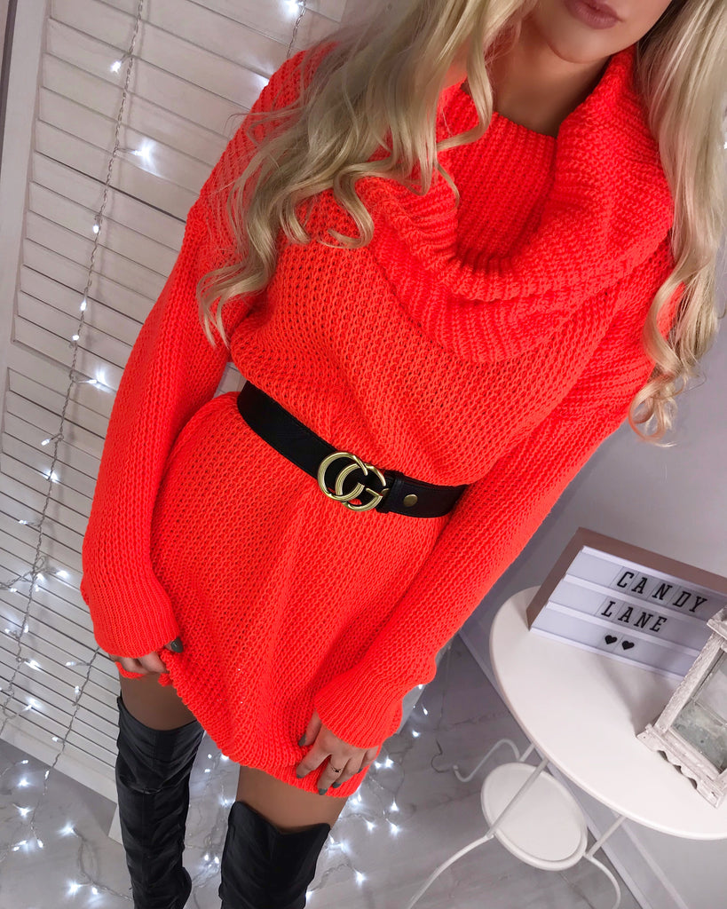 'Adele' Orange Chunky-Knit Roll Neck Jumper Dress