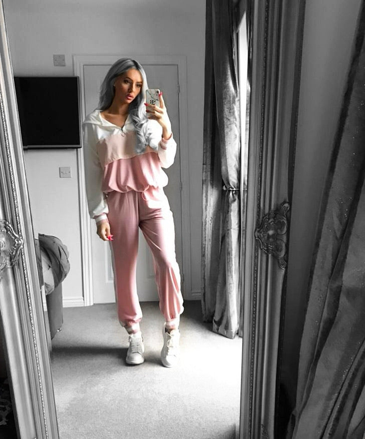 'Hallie' Pink & Cream Contrast Two-Piece Loungesuit
