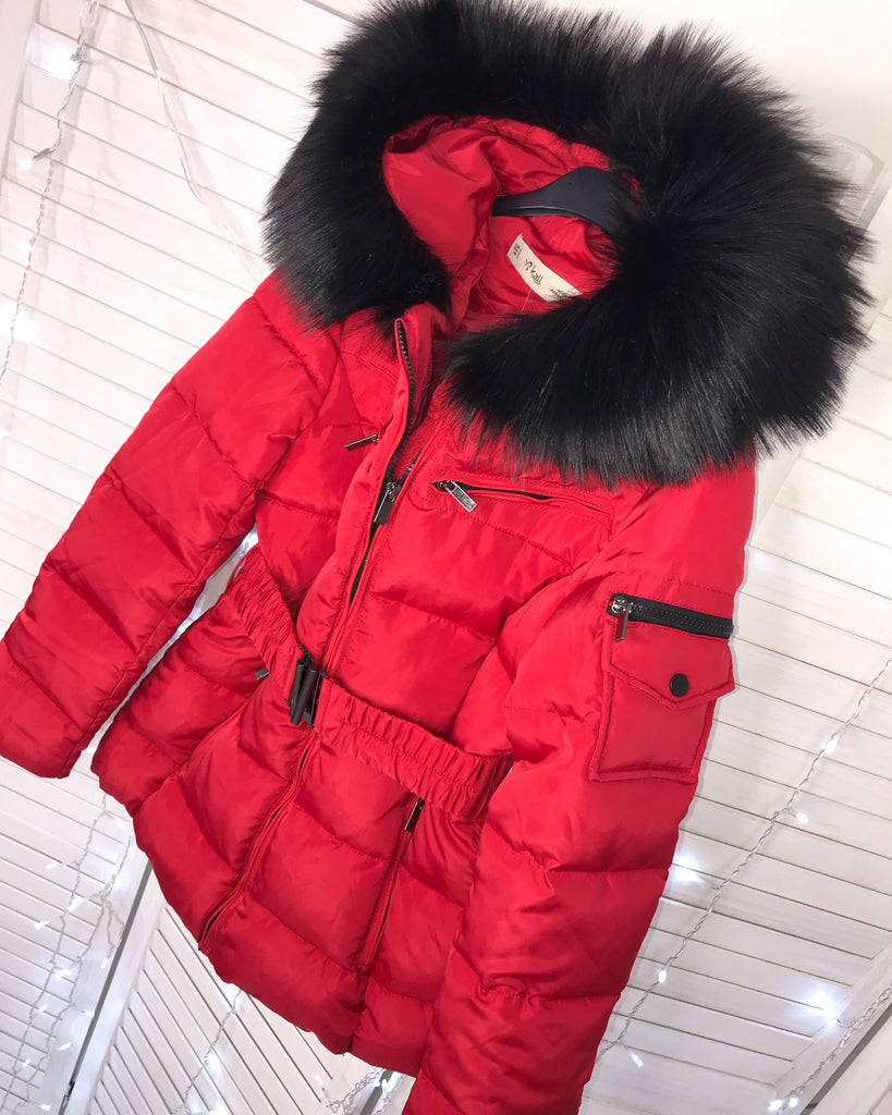 'Freya' Red Puffer Coat with Black Faux-Fur Hood & Belt