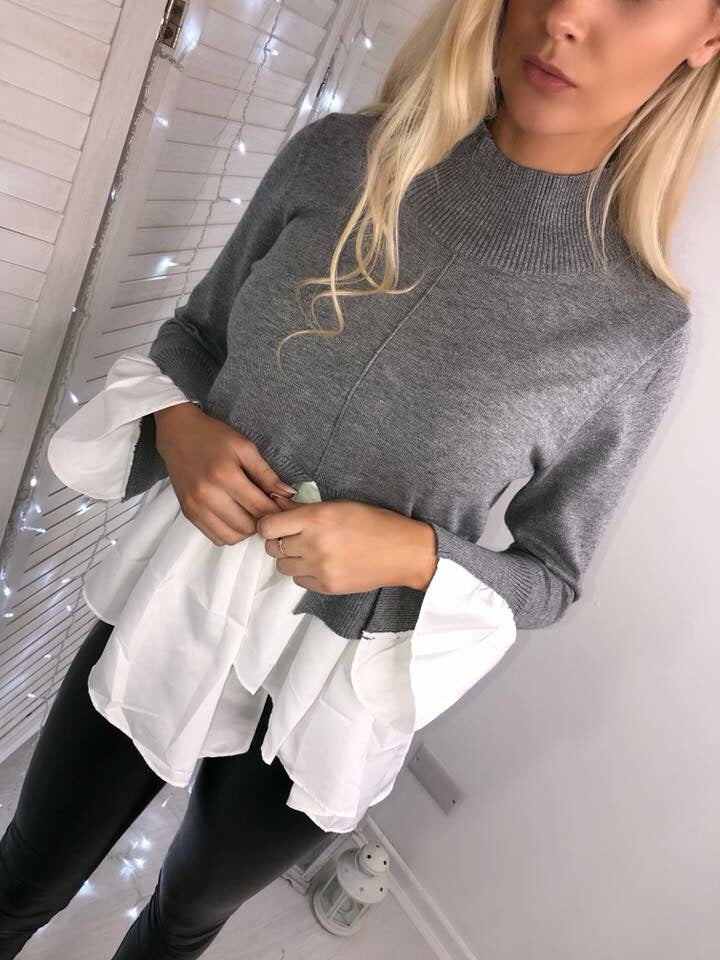 'Bryony' Grey Knitted High-Neck Shirt Jumper