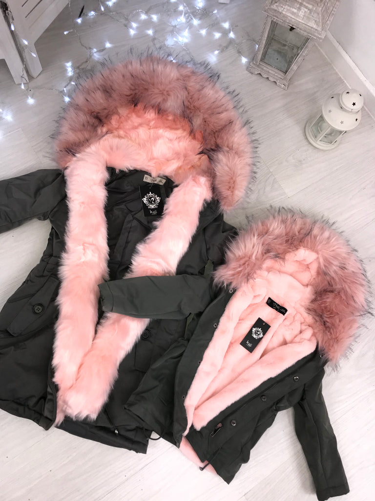 CHILDRENS Grey LUXE Parka with PINK Faux-Fur Hood & Fleece Lining