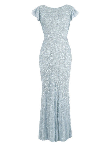 Winter Snow All Over Sequin Maxi Dress