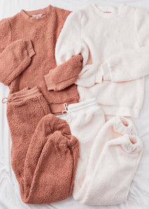Teddy Bear Sherpa Loungewear Set In Cream Color